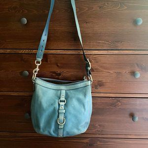Coach Bag, teal blue, adjustable strap